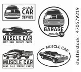 muscle car vector poster logo... | Shutterstock .eps vector #470579219