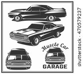 muscle car vector poster logo... | Shutterstock .eps vector #470579237