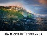 sunset shorebreak wave rip curl ...   Shutterstock . vector #470582891