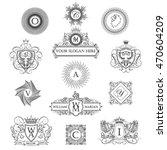 set of outline monograms   Shutterstock .eps vector #470604209