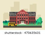 school building with school... | Shutterstock .eps vector #470635631