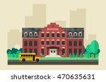 School Building With School...