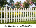 Rustic White Picket Fence With...