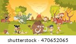group of cartoon cavemen on... | Shutterstock .eps vector #470652065