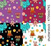 Set Of Seamless Patterns Of 4...
