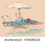 Beach Umbrella And Sunbeds On...