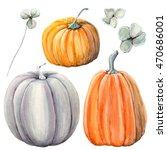 watercolor pumpkins set. it is... | Shutterstock . vector #470686001