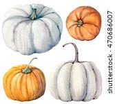 watercolor pumpkins set. it is... | Shutterstock . vector #470686007