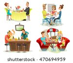 restaurant cafe bar 4 colorful... | Shutterstock .eps vector #470694959