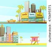 miami beach horizontal banners... | Shutterstock .eps vector #470695571