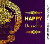 happy dussehra on colorful... | Shutterstock .eps vector #470709074
