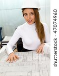 female architect at the office... | Shutterstock . vector #47074960