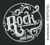 rock music print  vintage label ... | Shutterstock .eps vector #470751701
