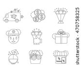 Vector Line Icons Set Flower...