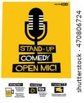 stand up comedy open mic   flat ... | Shutterstock .eps vector #470806724