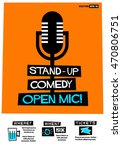 stand up comedy open mic   flat ... | Shutterstock .eps vector #470806751