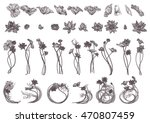 hand drawn set vector... | Shutterstock .eps vector #470807459