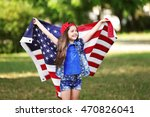 small girl with american flag... | Shutterstock . vector #470826041