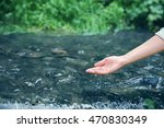 woman pouring water in hand | Shutterstock . vector #470830349