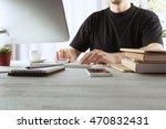 businessman working on computer ... | Shutterstock . vector #470832431