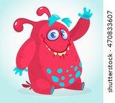 happy cartoon monster.... | Shutterstock .eps vector #470833607