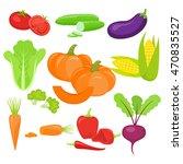 set of fresh vegetables ... | Shutterstock . vector #470835527