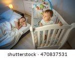 portrait of cute baby standing... | Shutterstock . vector #470837531