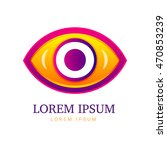 abstract eco logo with eye icon.... | Shutterstock .eps vector #470853239