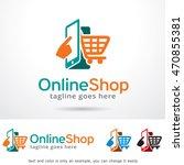 online shop logo template... | Shutterstock .eps vector #470855381
