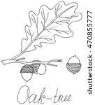 sketch acorns branch oak leaf... | Shutterstock .eps vector #470855777