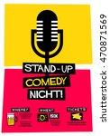 stand up comedy night   flat... | Shutterstock .eps vector #470871569