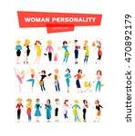 flat woman portraits collection ... | Shutterstock . vector #470892179