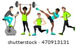 fitness set with different men. ... | Shutterstock .eps vector #470913131