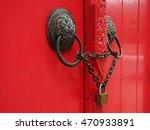 Old Wooden Door With Lion...