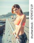 slender girl on the beach with... | Shutterstock . vector #470937119