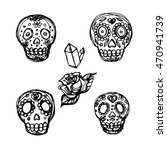 hand made sugar scull ink... | Shutterstock .eps vector #470941739