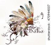 boho illustration with... | Shutterstock .eps vector #470944037