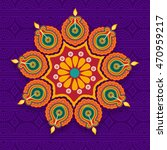 beautiful floral rangoli with... | Shutterstock .eps vector #470959217