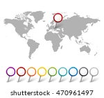 set of map pointers with world... | Shutterstock .eps vector #470961497