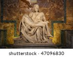Small photo of One of Michelangelo's most famous works: Pieta in St. Peter's Basilica in Vatican