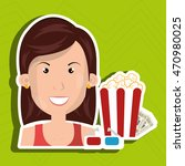woman movie video theater... | Shutterstock .eps vector #470980025