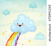 where does the rainbow  cute...   Shutterstock .eps vector #470991245
