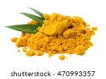 turmeric roots and powder on... | Shutterstock . vector #470993357