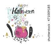 shabby chic halloween card   Shutterstock .eps vector #471009185