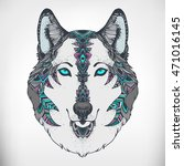 wolf head. ethnic patterned... | Shutterstock .eps vector #471016145