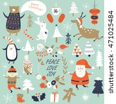 christmas cards with cute santa ... | Shutterstock .eps vector #471025484