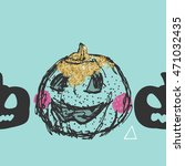 shabby chic halloween pumpkin   Shutterstock .eps vector #471032435