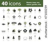 40 icons  flowers  trees  eco ...