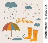 Autumn Set  Umbrella  Rain ...