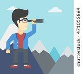 an asian businessman standing... | Shutterstock .eps vector #471053864